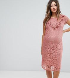 Кружевное розовое платье миди с оборками Mamalicious-Розовый Mama.Licious