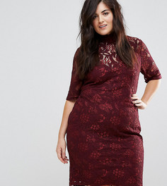 Кружевное платье-футляр с завязкой на спине Lovedrobe-Красный