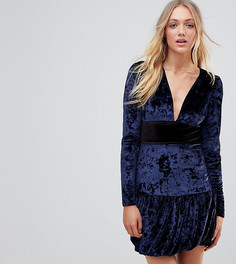 Бархатное платье мини с оборкой Vero Moda Tall-Темно-синий