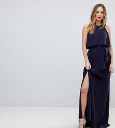 Платье макси с кроп-топом и разрезом ASOS TALL-Темно-синий