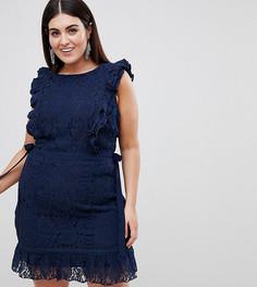 Кружевное платье-футляр Lovedrobe-Темно-синий