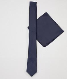 Темно-синий узкий галстук и платок для пиджака ASOS DESIGN