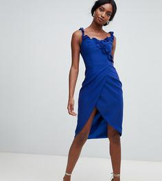 Синее платье-футляр с запахом и оборкой Chi Chi London Tall-Синий
