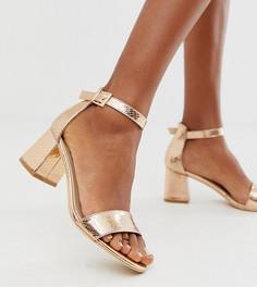Босоножки на каблуке цвета розового золота с эффектом змеиной кожи Glamorous Wide Fit-Золотой