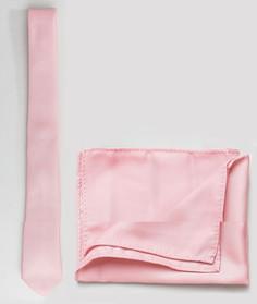 Бледно-розовый галстук и платок для нагрудного кармана ASOS DESIGN