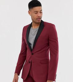 Бордовый пиджак-смокинг супероблегающего кроя ASOS DESIGN Tall-Красный