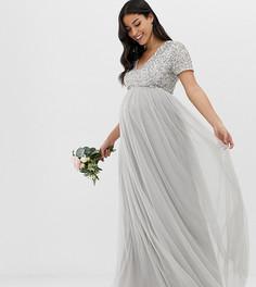Серебристое платье макси из тюля с V-образным вырезом Maya Maternity Bridesmaid-Серый