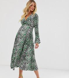 Платье макси с запахом и леопардовым принтом неоновой расцветки ASOS DESIGN Maternity-Мульти