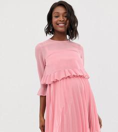 Двухслойное плиссированное платье мини ASOS DESIGN Maternity-Розовый