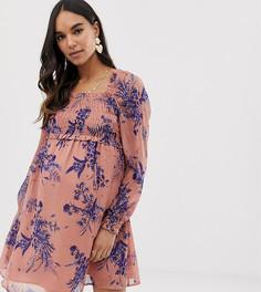 Короткое приталенное платье с квадратным вырезом и сборками ASOS DESIGN Maternity-Мульти