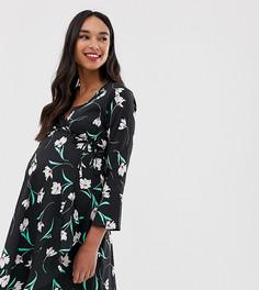 Черное платье с запахом, оборками и цветочным принтом Influence Maternity-Черный