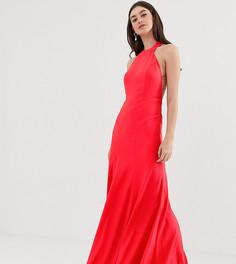 Платье макси из крепа с высоким воротом и асимметричным краем ASOS DESIGN Tall-Красный