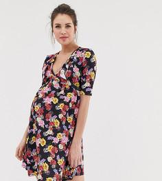 Короткое приталенное платье с запахом и цветочным принтом Bluebelle Maternity-Мульти