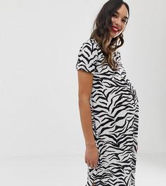 Свободное платье с зебровым принтом и удлиненным краем Bluebelle Maternity-Мульти