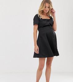 Атласное приталенное платье мини на пуговицах ASOS DESIGN Maternity-Черный