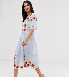 """Свободное платье миди с вышивкой и отделкой """"лесенка"""" ASOS DESIGN Tall-Синий"""