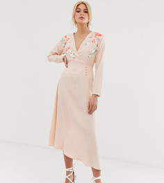 Платье миди с запахом и вышивкой ASOS DESIGN Tall-Розовый