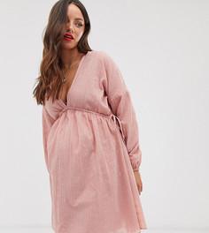 Фактурное свободное платье мини с треугольным вырезом спереди и сзади ASOS DESIGN Maternity-Розовый
