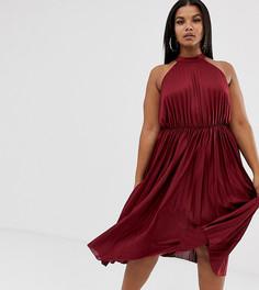 Плиссированное платье миди с высоким воротом ASOS DESIGN Curve-Красный