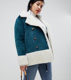 Пальто из искусственной замши с подкладкой из искусственного меха Current Air Plus-Синий