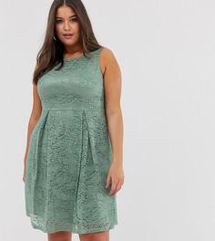 Кружевное платье миди Lovedrobe-Зеленый