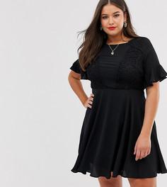 Платье с кружевной вставкой Lovedrobe-Черный