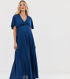 Плиссированное платье макси с кейпом ASOS DESIGN Maternity-Темно-синий