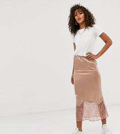 Атласная юбка миди косого кроя с кружевной отделкой по краю ASOS DESIGN Tall-Розовый