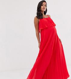 Плиссированное платье макси с кроп-топом ASOS DESIGN Maternity-Красный