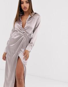 Атласное платье макси Missguided-Розовый