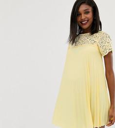 Свободное платье мини с кружевом и плиссировкой ASOS DESIGN Maternity-Черный