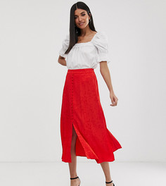 Жаккардовая юбка миди с пуговицами спереди Y.A.S Tall-Красный