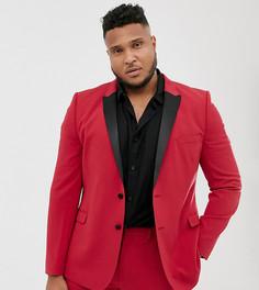 Супероблегающий красный пиджак-смокинг ASOS DESIGN Plus