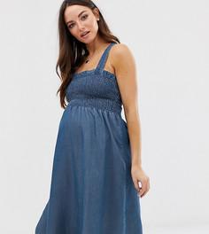 Платье миди для беременных с присборенной отделкой и бретельками Mamalicious-Синий Mama.Licious