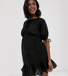 Платье мини с короткими рукавами и эластичной талией ASOS DESIGN Maternity-Черный