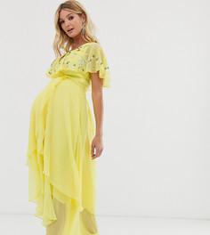 Платье макси с кейпом и отделкой ASOS DESIGN Maternity-Желтый