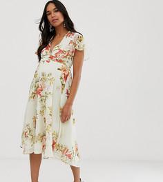 Платье миди с короткими рукавами и V-образным вырезом Hope & Ivy Maternity-Мульти