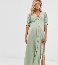 Чайное платье макси на пуговицах из ткани сирсакер ASOS DESIGN Maternity-Зеленый