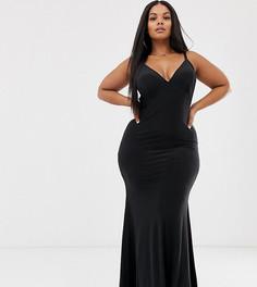 Черное платье макси на бретельках с годе Club L London Plus-Черный