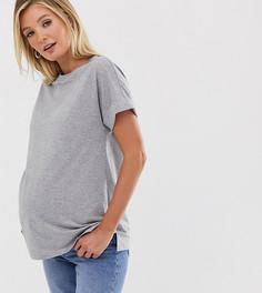 Серая меланжевая oversize-футболка бойфренда с отворотами на рукавах ASOS DESIGN Maternity-Серый