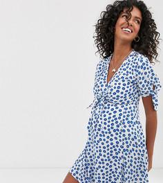Приталенное платье мини с цветочным принтом и завязками на рукавах ASOS DESIGN Maternity-Мульти