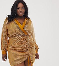 Платье-смокинг с отделкой и контрастными атласными элементами ASOS DESIGN Curve-Коричневый