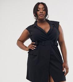 Платье-смокинг мини в стиле милитари ASOS DESIGN Curve-Черный