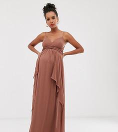 Платье макси на бретелях с ярусной юбкой и присборенным лифом ASOS DESIGN Maternity-Коричневый