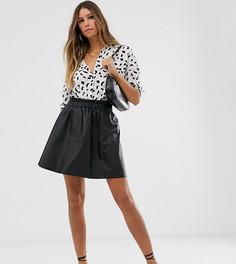 Короткая расклешенная юбка из искусственной кожи Vila-Черный