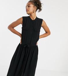 Платье миди без рукавом с карманами Y.A.S Tall-Черный