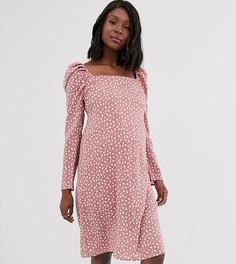Платье с квадратным вырезом и сборками на спине Wild Honey Maternity-Фиолетовый