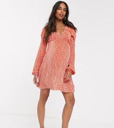 Плиссированное чайное платье с длинными рукавами и принтом ASOS DESIGN Maternity-Красный