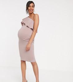 Платье миди на одно плечо с оборками ASOS DESIGN Maternity-Розовый
