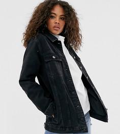 Черная выбеленная джинсовая куртка ASOS DESIGN Tall-Синий